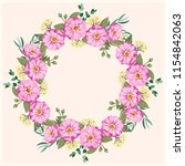 floral round frame from cute... | Shutterstock . vector #1154842063