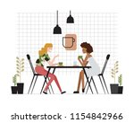 pair of young women of... | Shutterstock .eps vector #1154842966