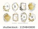 floral frame design. wedding... | Shutterstock .eps vector #1154843830