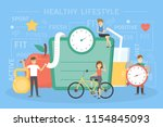 healthy lifestyle concept.... | Shutterstock .eps vector #1154845093