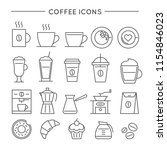 coffee icon set in thin line... | Shutterstock .eps vector #1154846023