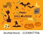 vector set of halloween cute... | Shutterstock .eps vector #1154847706