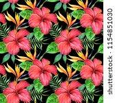 tropical plants pattern in a...   Shutterstock . vector #1154851030
