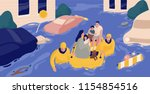 flood survivors sitting in... | Shutterstock .eps vector #1154854516