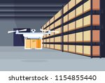 delivery drone flying air... | Shutterstock .eps vector #1154855440