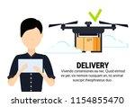 asian man operator drone flying ...   Shutterstock .eps vector #1154855470