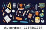 collection of school stationery ... | Shutterstock .eps vector #1154861389