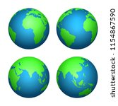 earth 3d globe. world map with...   Shutterstock .eps vector #1154867590