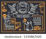 coffee menu. vintage hand drawn ... | Shutterstock .eps vector #1154867620