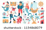 collection of adorable pirates  ... | Shutterstock .eps vector #1154868079