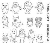 set of doodle monsters | Shutterstock .eps vector #1154870899