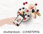 vector flat lay mobile food... | Shutterstock .eps vector #1154870956