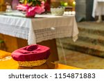 basket for the offertory during ... | Shutterstock . vector #1154871883