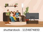 smiling mother  father and... | Shutterstock .eps vector #1154874850