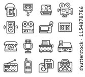 vector retro technology outline ... | Shutterstock .eps vector #1154878786