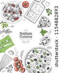 italian cuisine top view frame. ... | Shutterstock .eps vector #1154882893
