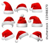 set of red santa claus hats... | Shutterstock . vector #115488370