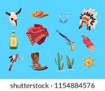 wild west cartoon set. cowboy... | Shutterstock .eps vector #1154884576