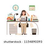 busy female office worker or... | Shutterstock .eps vector #1154890393