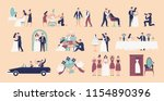 collection of bride and groom... | Shutterstock .eps vector #1154890396