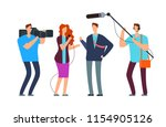journalists take interview.... | Shutterstock .eps vector #1154905126