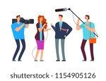 journalists take interview.... | Shutterstock .eps vector #1154905126
