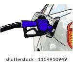 car with fuel to pump gas...   Shutterstock .eps vector #1154910949