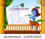 lord krishna indian god... | Shutterstock .eps vector #1154911810