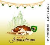 pot of dahi handi  cream  for... | Shutterstock .eps vector #1154911873