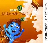 lord krishna indian god... | Shutterstock .eps vector #1154911876