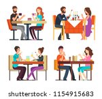 couples table. man  woman... | Shutterstock .eps vector #1154915683
