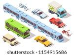 isometric city public transport.... | Shutterstock .eps vector #1154915686