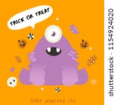 baby monster on halloween... | Shutterstock .eps vector #1154924020