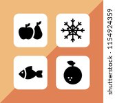 raw icon. 4 raw set with fish ... | Shutterstock .eps vector #1154924359