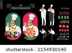 italian restaurant set  ... | Shutterstock .eps vector #1154930140