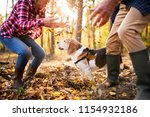 senior couple with dog on a... | Shutterstock . vector #1154932186
