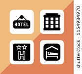 motel icon. 4 motel set with... | Shutterstock .eps vector #1154934970