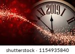 red shiny bokeh 2019 new year... | Shutterstock .eps vector #1154935840