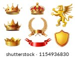 royal golden king crowns set ... | Shutterstock .eps vector #1154936830