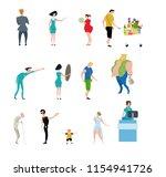 supermarket shopping persons ... | Shutterstock .eps vector #1154941726