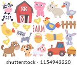 cute farm cartoon animals and... | Shutterstock .eps vector #1154943220