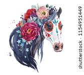Stock photo watercolor print of the holiday muertos the head of a horse with the flowers of peony and 1154951449