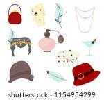 retro fashion 1920s 1930s... | Shutterstock .eps vector #1154954299