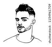 sketching handsome arabian...   Shutterstock .eps vector #1154961709
