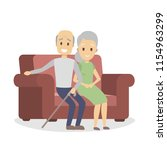 old couple sitting on the couch.... | Shutterstock .eps vector #1154963299