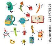 school supplies characters set... | Shutterstock .eps vector #1154975503