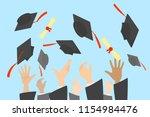 hands throwing graduation caps... | Shutterstock .eps vector #1154984476