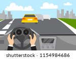 hands drive a car on the street.... | Shutterstock .eps vector #1154984686