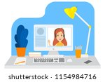 video chat with young girl....   Shutterstock .eps vector #1154984716