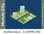 set of modern isometric... | Shutterstock .eps vector #1154991760